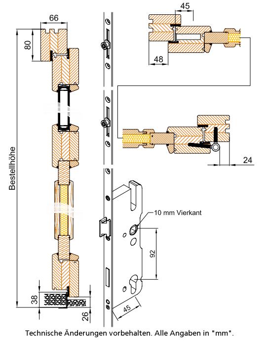 Holz HaustUr Technische Zeichnung ~ Holz Nebeneingangstür Fichte astig roh Doorero H2600  Tuerenheld