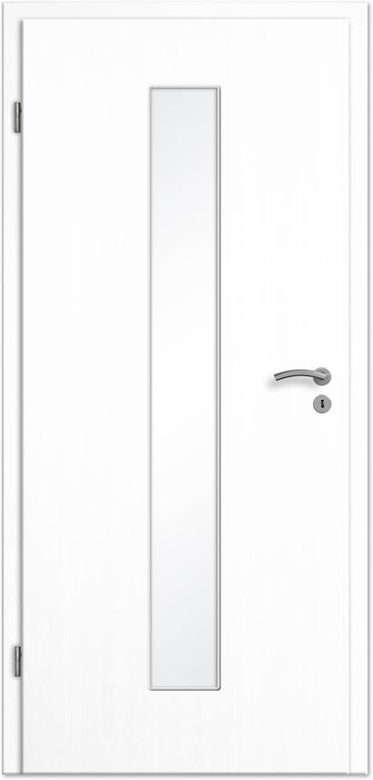 Extrem Innentür / Zimmertür Esche weiß CPL mit schmalem Lichtausschnitt IE62