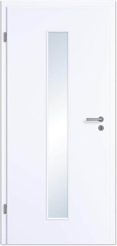 Zimmertür  Innentür / Zimmertür Weißlack mit schmalem Lichtausschnitt ...